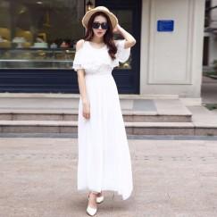 Đầm maxi trắng đẹpsự tinh khôi đến từng đường nét