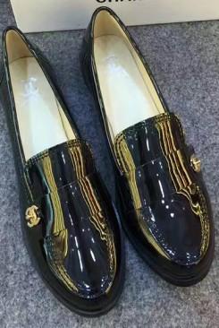 Giày búp bê chanel da bóng