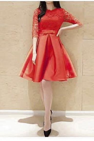 Đầm ren nữ áo ren tay lổ phối chân váy xòe dễ thương