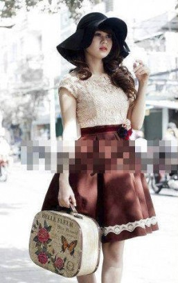 Đầm ren nữ áo ren chân váy xếp ly