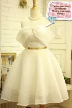 Đầm dự tiêc tùng xòe phối nơ bự rớt vai nữ tính
