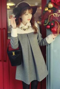 Đầm suông dạo phố cổ sơ mi tay dài sang trọng
