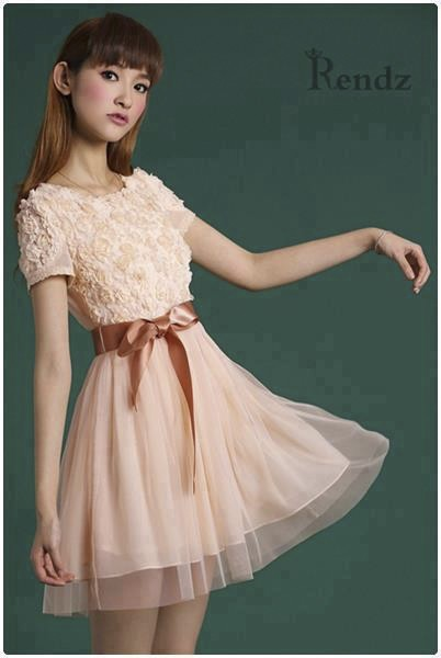 Đầm nữ dự tiêc áo ren hoa hồng phối chân váy voan kèm belt ruy băng