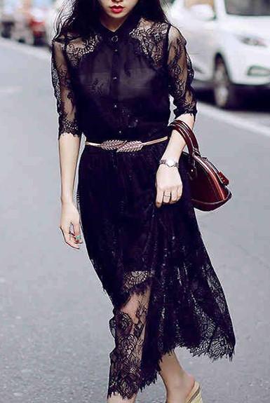 Đầm dạo phố ren đen cá tính