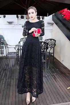Đầm maxi ren đen quý phái