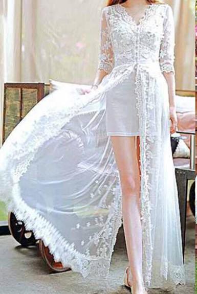 Đầm maxi ren xẻ tà
