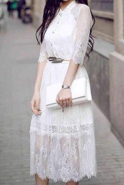 Đầm maxi ren trắng dạo phố