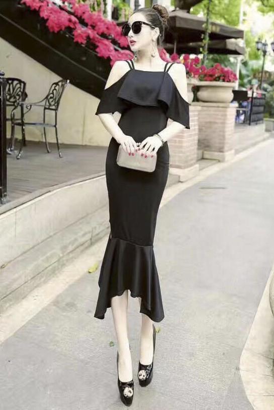 Đầm ôm body nữ tính rớt vai đuôi cá cách tân dễ thương